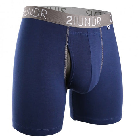 "2UNDR - 6"" Swing Shift Boxer Briefs - 2U01BB - Navy/Grey"