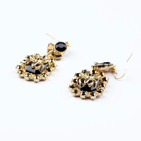 'Cara' Black Onyx and Gold Spider Earrings