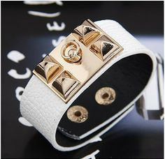 'Ella' faux white leather cuff bracelet