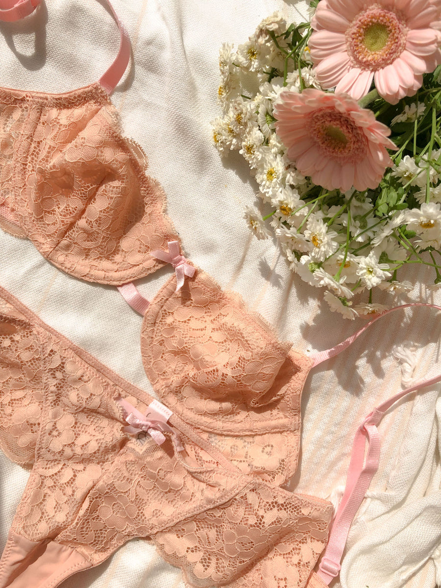 Charmed Lace Bra - Tickled Pink