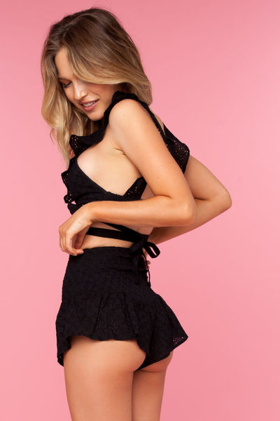 Ruffles Shorts - Black Doile