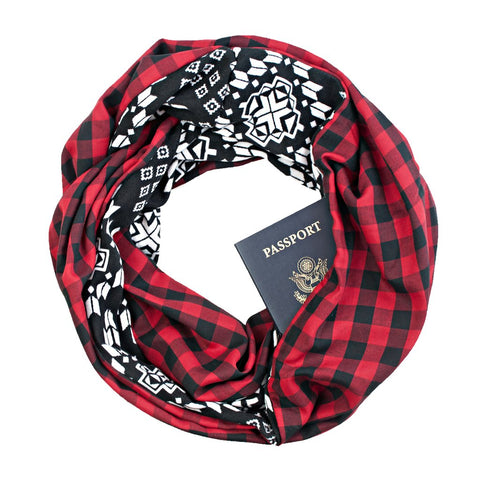 Red plaid infinity loop scarf with secret zippered pocket.