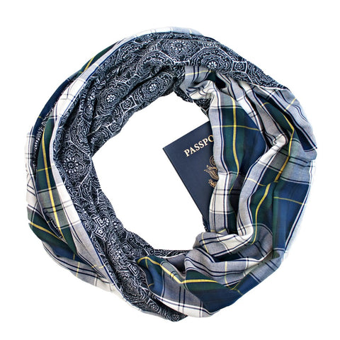 Blue plaid infinity loop pocket scarf.