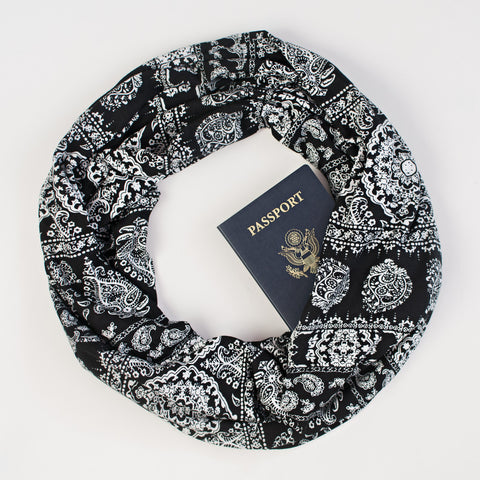 The Mykonos lightweight Speakeasy Travel Supply passport scarf.