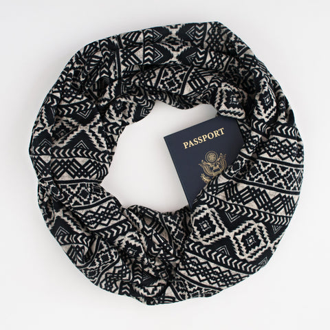 The Pueblo Speakeasy Travel Supply hidden-pocket scarf.