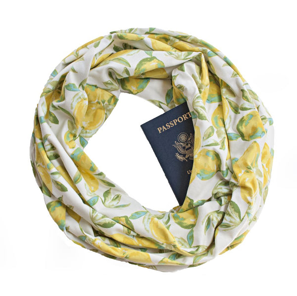 Lemon print secret pocket travel scarf.