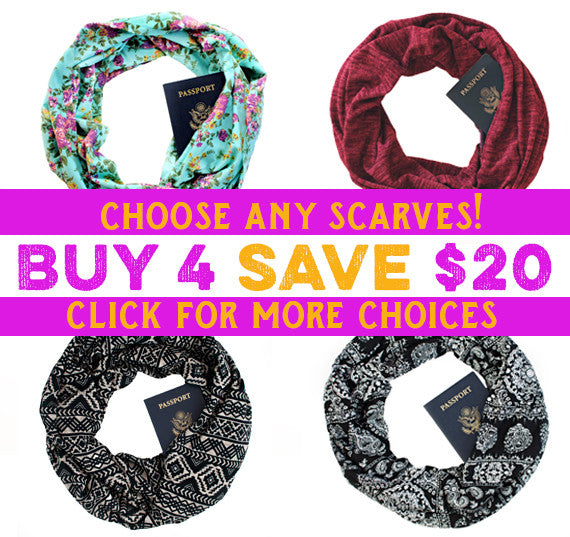 Choose any 4 scarves and Save $20! - Speakeasy Travel Supply Co.