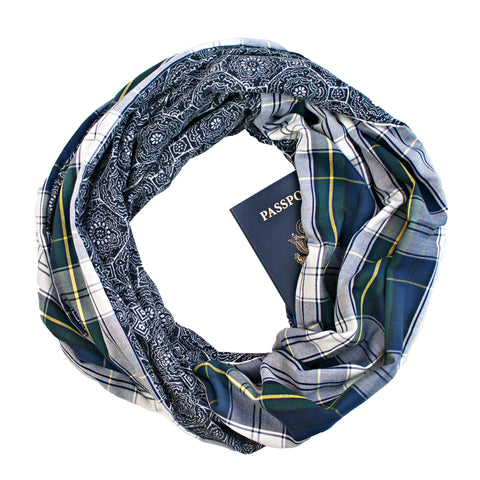 Blue/Green/White Plaid Hidden Zippered Pocket Infinity Loop Scarf Backed with Charcoal Black/White Tribal Sweater Knit by Speakeasy Travel Supply. Inspired by the Old West with a hidden pocket for your phone, passport, flask, etc.