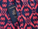 Navy and Coral Passport Loop Scarf.