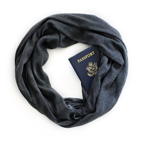 Pacific Trails Scarf in Charcoal - Speakeasy Travel Supply Co.