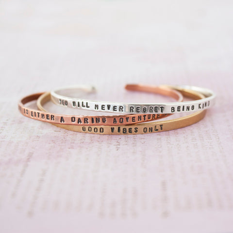 Life Is Either A Daring Adventure Or Nothing At All >> Travel Inspired Copper Bracelet - Speakeasy Travel Supply Co.