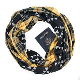 Yellow/Black Plaid Hidden Zippered Pocket Infinity Loop Scarf Backed with Black/Grey Tribal Sweater Knit by Speakeasy Travel Supply. Inspired by the Old West with a hidden pocket for your phone, passport, flask, etc.