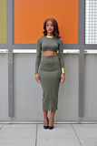 Jane Olive Green Skirt Set