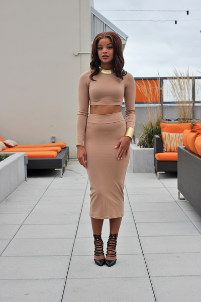 Jane Taupe Skirt Set