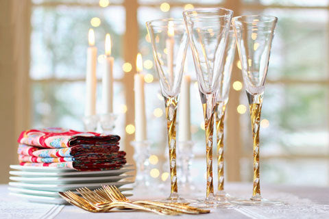 There's nothing like a flickering flame to make your best glassware sparkle and shine.