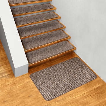 Set of 15 Skid-Resistant Carpet Stair Treads and Matching Landing Rug - Praline Brown