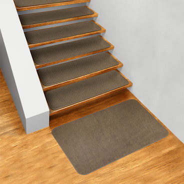 Set of 15 Skid-Resistant Carpet Stair Treads and Matching Landing Rug - Camel Tan