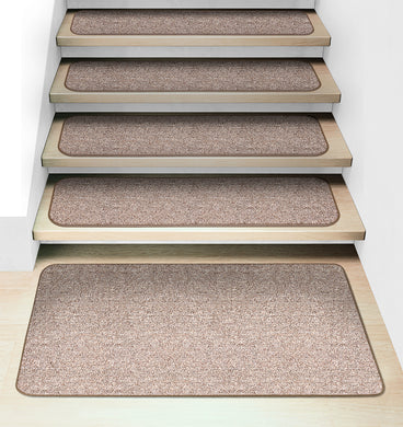 Set of 15 Attachable Carpet Stair Treads and Matching Landing Rug - Pebble Beige