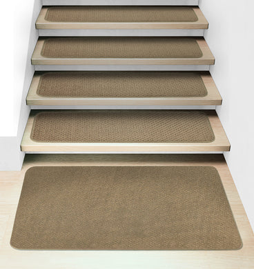 Set of 15 Attachable Carpet Stair Treads and Matching Landing Rug - Camel Tan