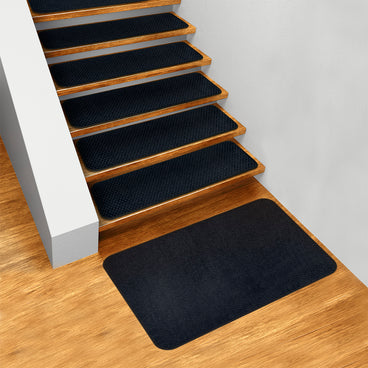 Set of 15 Skid-Resistant Carpet Stair Treads and Matching Landing Rug - Navy Blue