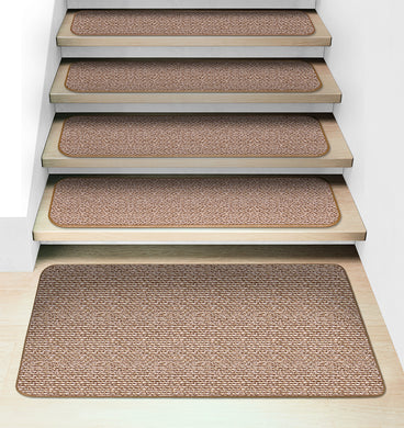 Set of 15 Attachable Carpet Stair Treads and Matching Landing Rug - Praline Brown