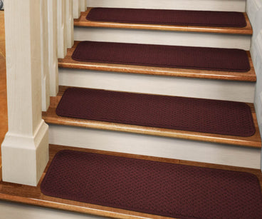 Adhesive Carpet Stair Treads Burgundy Red