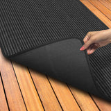 Indoor Outdoor Double-Ribbed Carpet Runner with Skid-Resistant Rubber Backing Smokey Black