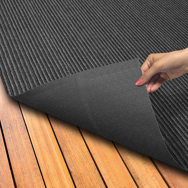 Indoor Outdoor Double-Ribbed Carpet with Skid-Resistant Rubber Backing Smokey Black