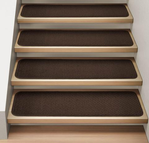 Set of 12 Attachable Carpet Stair Treads Chocolate Brown