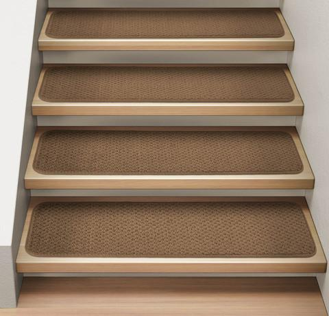 Set of 15 Attachable Carpet Stair Treads Toffee Brown