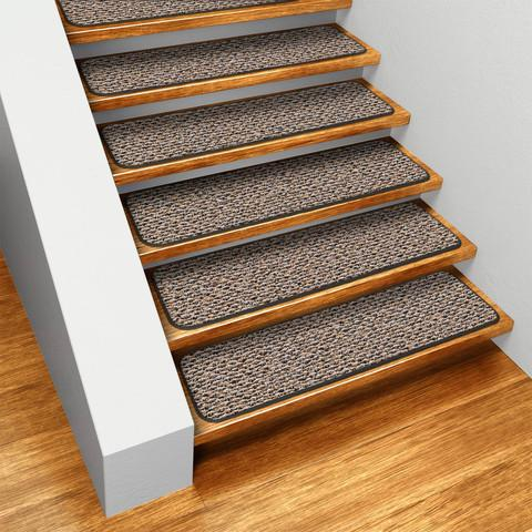 Set of 15 Skid-Resistant Carpet Stair Treads Black Ripple