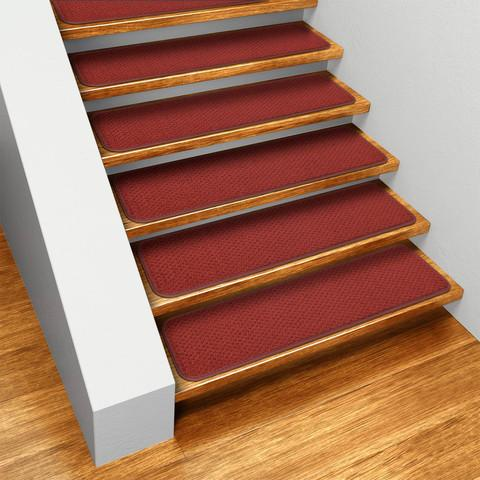 Set of 12 Skid-Resistant Carpet Stair Treads Brick Red