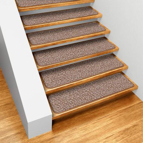 Set of 12 Skid-Resistant Carpet Stair Treads Praline Brown