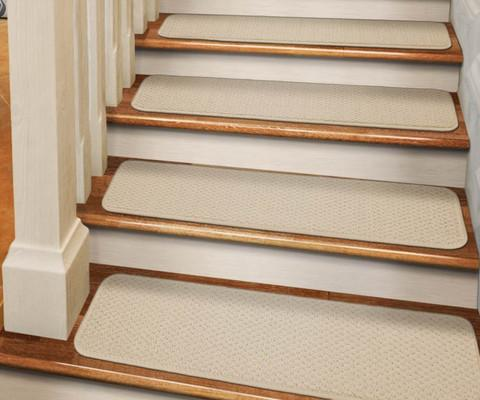 Set of 12 Tape-Down Carpet Stair Treads Ivory Cream