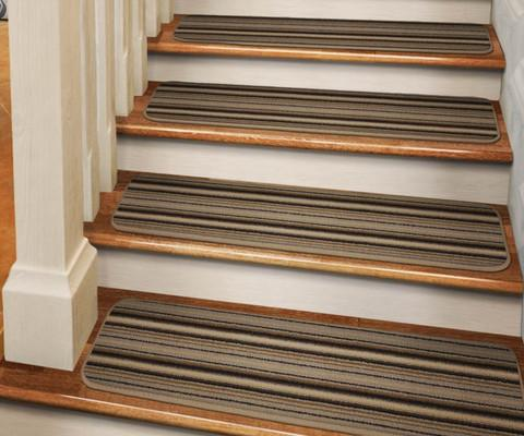 Set of 12 Tape-Down Carpet Stair Treads Mocha Brown Stripe