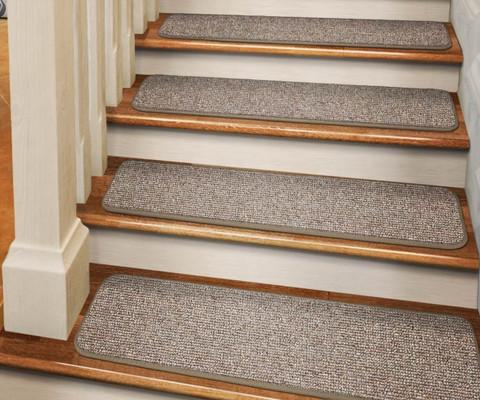 Set of 15 Tape-Down Carpet Stair Treads Pebble Beige