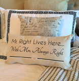mr. right romantic pillow