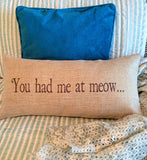 you had me at meow cat indoor-outdoor pillow