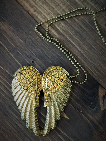 gold angel wing necklace-brooch-bouquet pin