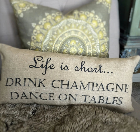 Sparkle linen party champagne pillow