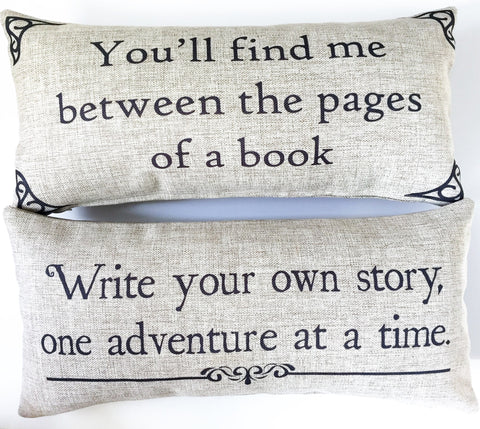 Book lover adventure pillow
