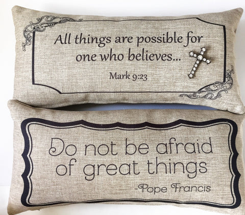 Bible-Pope Quote Spiritual Cross Pillow Set