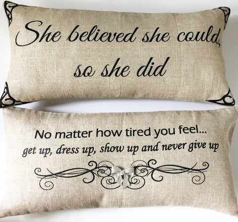 She Believed She Could & Never Give Up Sparkle Linen
