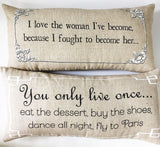 Motivational quote gift-pillow for women