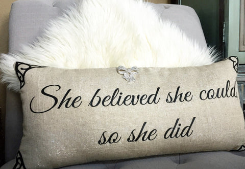 Dress up motivational sparkly linen pillow