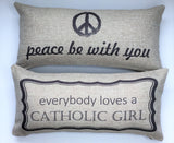 Catholic Girl-Peace Be With You Pillow