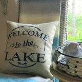 New! Lake memories navy and tan indoor-outdoor pillow