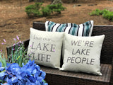 New! Lake People Ivory and Grey indoor-outdoor pillow