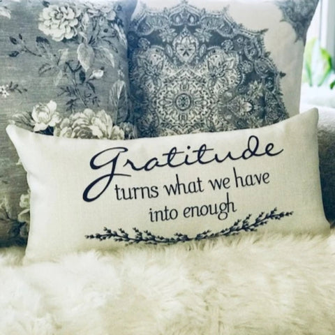Gratitude-Courage Ivory Message Pillow