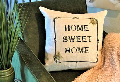 Home Sweet Home-Dreamers Welcome big sparkly linen pillow